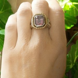 Vintage 14K Gold/Sterling Amethyst Cable Ring